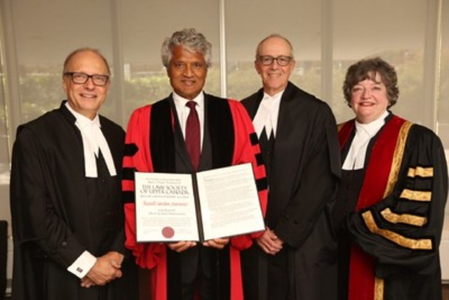 The Hon. Russell G. Juriansz, judge of the Court of Appeal for Ontario (second from left), holds the degree of Doctor of Laws honoris causa, presented to him by The Law Society of Upper Canada at its Sept. 25th Call to the Bar ceremony at Roy Thomson Hall. Justice Juriansz is congratulated by (l-r) Law Society CEO Robert Lapper, Chief Justice George Strathy and Law Society Treasurer Janet E. Minor. (CNW Group/The Law Society of Upper Canada)