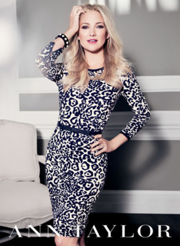 Kate Hudson returns as the face of Ann Taylors Fall 2012 ad campaign wearing the brands White Leopard Dress Bow Belt and Cabochon (CNW Group/ASC Public Relations Inc.) (CNW Group/Ann Taylor)