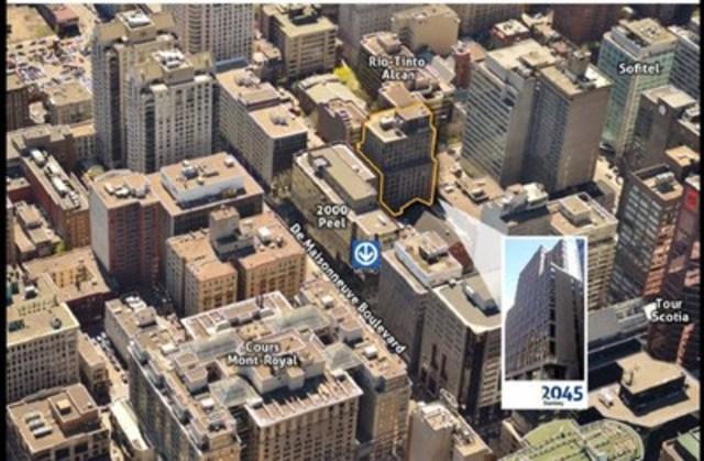 Vue aérienne du 2045 Stanley (Groupe CNW/Fonds de placement immobilier Nobel)