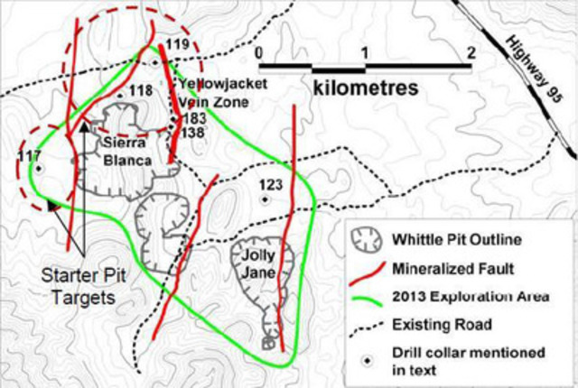 Figure 1: Exploration targets for initial 2013 North Area exploration program. (CNW Group/Corvus Gold Inc.)