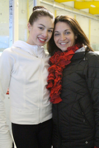 Isabelle Brasseur, Olympic figure skater and heart disease survivor with daughter Gabrielle. Isabelle has a congenital heart condition and says she knows first-hand the importance of maintaining healthy behaviours and encourages all Canadians to take their health to heart. (CNW Group/Heart and Stroke Foundation)