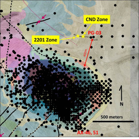Image 1 - Plan of Cove Pit area showing historic drill hole collars (black dots) in spatial relation to discovery of CND Zone and expanded 2201 Zone 400m north of the pit. Yellow stars show discovery intercepts along PG-03 hole trace projected to the surface. (CNW Group/Premier Gold Mines Limited)
