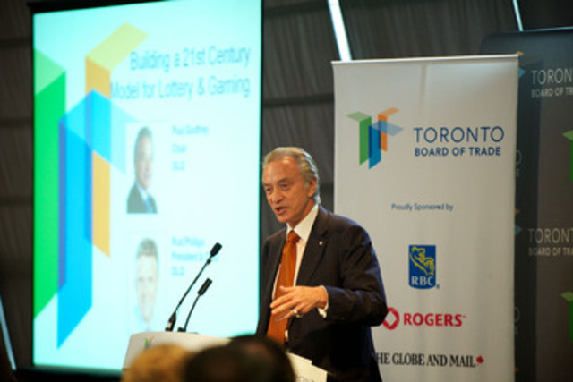 Ontario Lottery and Gaming Corporation (OLG) Chair, Paul Godfrey, addressed the Toronto Board of Trade regarding an entertainment gaming centre proposed for the GTA. (CNW Group/OLG Winners)