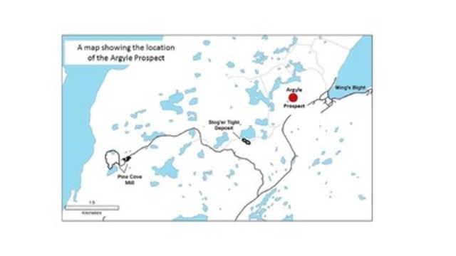 Exhibit A: Location map showing proximity of Argyle to Pine Cove Mill (CNW Group/Anaconda Mining Inc.)