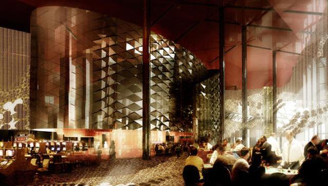 Le Hub central fait la jonction entre un disco-lounge à la mezzanine, le restaurant Banco et l'aire de jeux. Le hub facilitera la socialisation des clients, leur passage d'une aire de service à une autre. Il y aura des projections multimédia en haute définition sur l'avant et l'arrière du hub. (Groupe CNW/CASINO DU LAC-LEAMY)