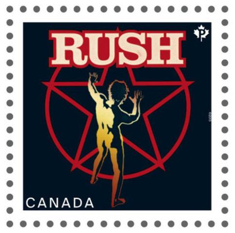 Ce timbre de la série consacrée aux artistes canadiens de la chanson met en scène RUSH (Groupe CNW/Postes Canada)