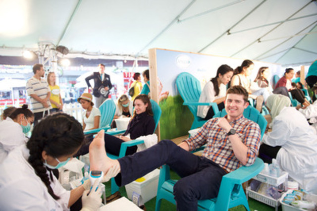 Amopé Pedi Park pop up sets GUINNESS WORLD RECORDS Title for Most Pedicures Given in 8 Hours at Yonge Dundas Square. (CNW Group/CNW Enriched News Releases)