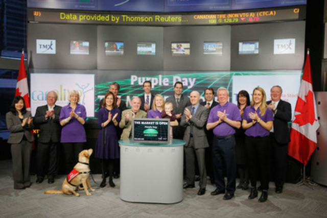 Hank Cunningham, Founder, Care-Alive joined Eric Sinclair, President, TMX Datalinx and Group Head of Data Services, TMX Group to open the market to mark Purple Day - The Global Day of Epilepsy Awareness. On March 26th, people around the world are invited to wear purple and host events in support of epilepsy awareness. Founded in 2009, Care-Alive offers support to families and individuals living with epilepsy through causes, such as, the sponsorship of Seizure-Response Dogs and Epilepsy Halton Peel Hamilton's Sunny Days Kids Camp. (CNW Group/TMX Group Limited)