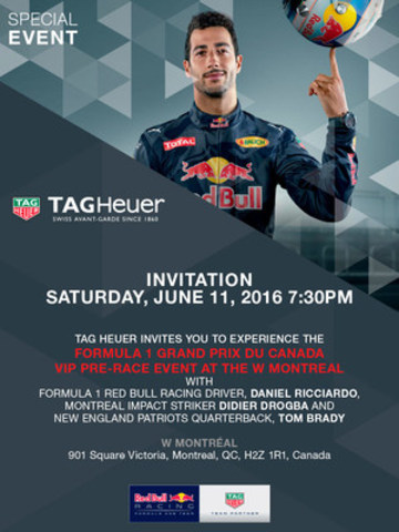 TAG Heuer hosts the #Don'tCrackUnderPressure Challenge to celebrate the Montreal Grand Prix with Daniel Ricciardo, Tom Brady and Didier Drogba (CNW Group/Tag Heuer)