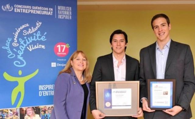 Nathalie Rajotte, directrice générale d'Ingenio, avec Navi Cohen et Daniel Blumer, cofondateurs de Revol Technologies. (Groupe CNW/Loto-Québec)