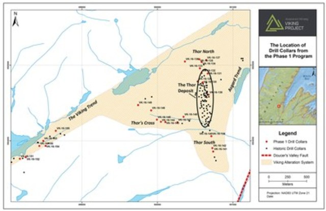Exhibit A.  A map showing the areas of drilling during the Phase 1 Exploration Program at Viking. (CNW Group/Anaconda Mining Inc.)