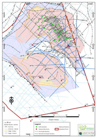 Figure 1. Map showing Kola and Dougou and all boreholes and seismic data. The lines marked in blue are part of the recently acquired historic dataset. The historic boreholes are marked in red. (CNW Group/Elemental Minerals Limited)