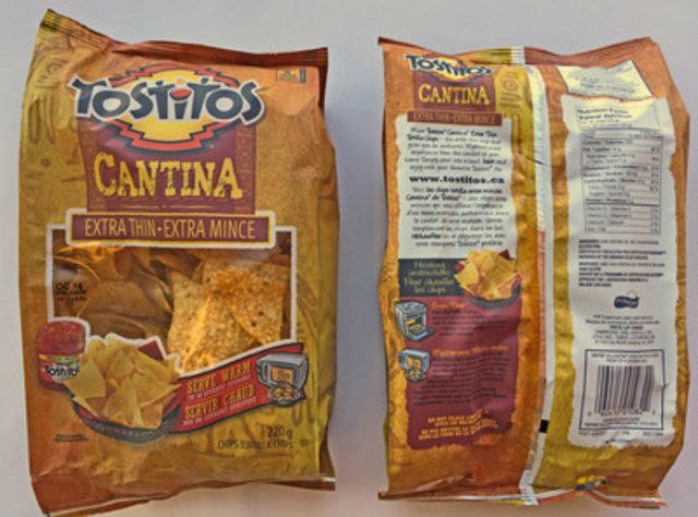 """The only impacted product is 220 gram bags of Tostitos® Cantina™ Extra Thin tortilla chips (UPC: 6041001082) with a """"Guaranteed Fresh"""" Date of OC 18 and manufacturing codes of 505122506 and 505222506. (CNW Group/PepsiCo Foods Canada)"""