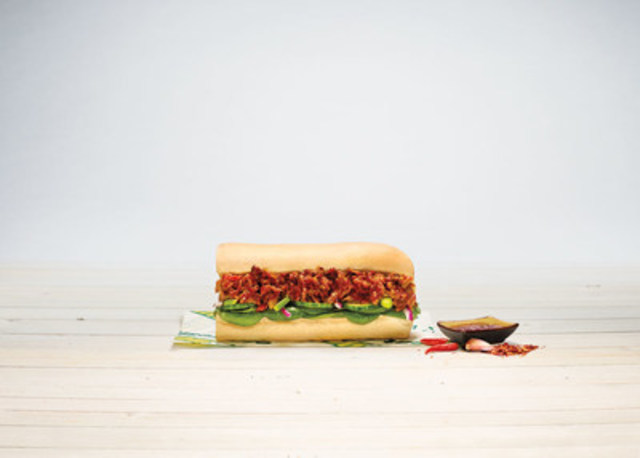Available for a limited-time at SUBWAY® restaurants, the Korean BBQ Pulled Pork Sandwich is the perfect blend of sweet and heat and features tender, slow-roasted pulled pork tossed in a savoury glaze infused with a blend of soy, garlic, gochujang paste and sesame oil. (CNW Group/SUBWAY RESTAURANTS)