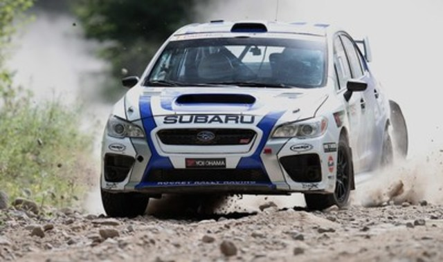 L'équipe canadienne des rallyes Subaru a imposé un rythme impressionnant dans sa Subaru WRX STI lors du Rallye Défi. ©Droits d'auteur 2015 Rocket Rally Racing par Phil Ericksen. (Groupe CNW/Subaru Canada Inc.)