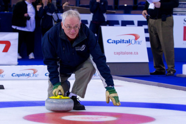 Bob Stewart stood on competition ice at the Tim Hortons Brier in Edmonton, where he shot for the chance to win $1 million in the Capital One Million Dollar Button final. (CNW Group/Capital One Services, Inc.)