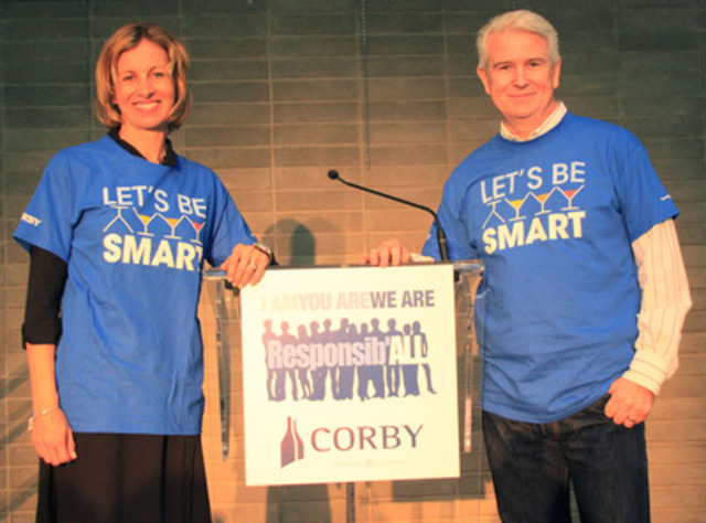 Karen Stintz, Chair of the TTC, and Patrick O'Driscoll, President and CEO of Corby Distilleries. (CNW Group/Corby Distilleries Limited)