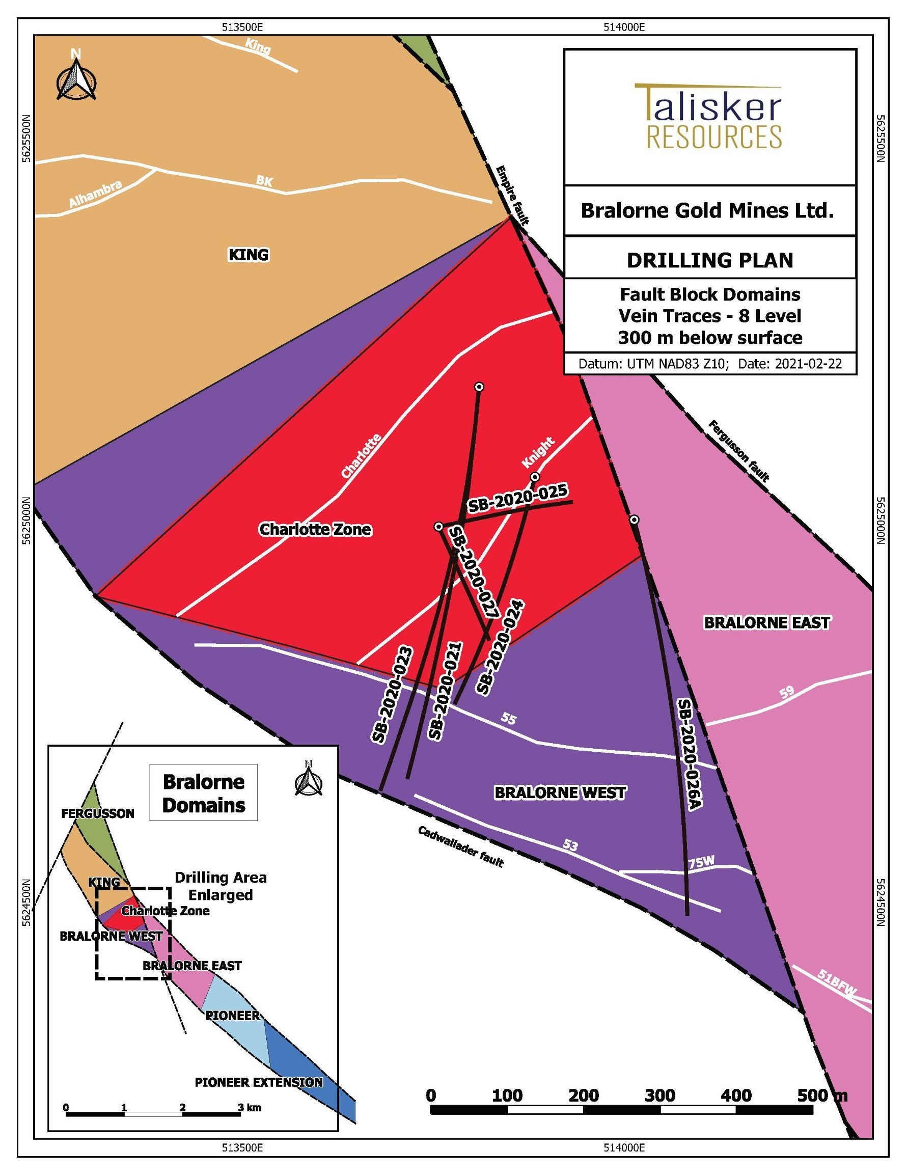 Figure 3: Map of the Bralorne West and Bralorne East Zones at the Bralorne Gold Project (see Figure 1) showing drill traces from today's release, major high-grade vein structures projected to surface (white) and surface infrastructure. (CNW Group/Talisker Resources Ltd)