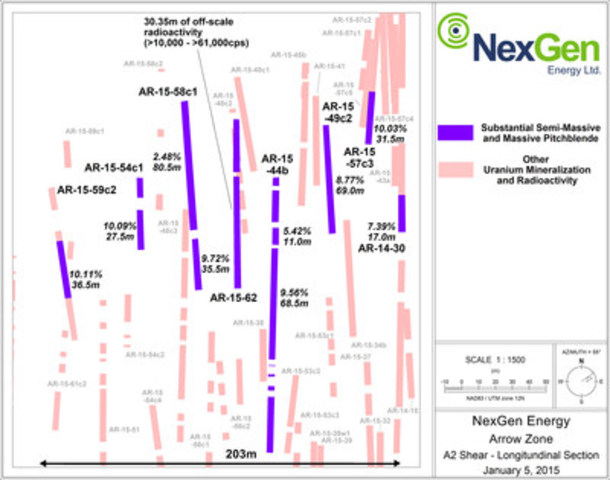 Mineralized Shear Longsection (Close Up of Sub-Zone) (CNW Group/NexGen Energy Ltd.)