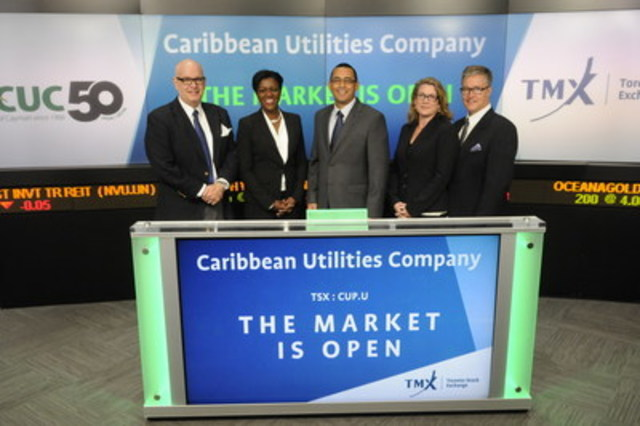 CUC President & CEO, Richard Hew, opened the TSX Market on April 15 to celebrate CUC's 50th Anniversary. From Left: Peter Thomson, Letitia Lawrence, Richard Hew, Claire Stafford and Scott Hawkes. (CNW Group/Caribbean Utilities Company, Ltd.)