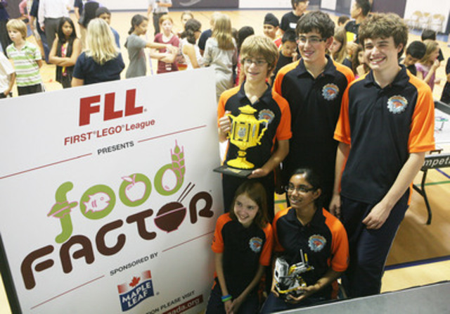 2010 FIRST® LEGO® League World Champions, Jack, Chris, Amanda, Kathleen and Anthony (Thomas and Mike absent) at FIRST® LEGO® League 2011 FOOD FACTOR™ Challenge Launch sponsored by Maple Leaf Foods (CNW Group/FIRST LEGO League)