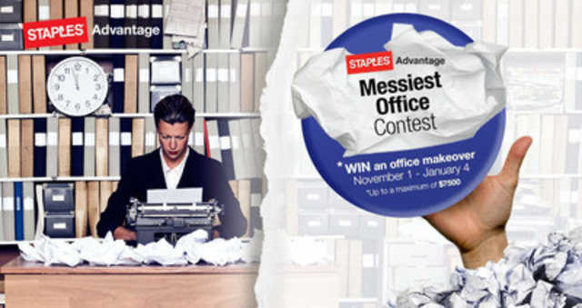 If you have a disorganized office, be sure to enter the Staples Advantage 'Messiest Office' contest for your chance at an office makeover. (CNW Group/Staples Advantage Canada)