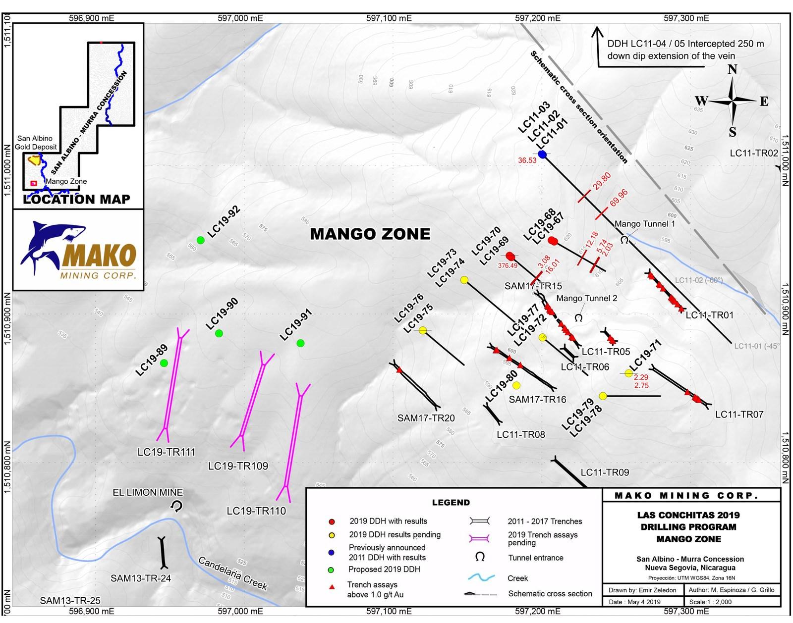 Las Conchitas 2019 Drilling Program Mango Zone