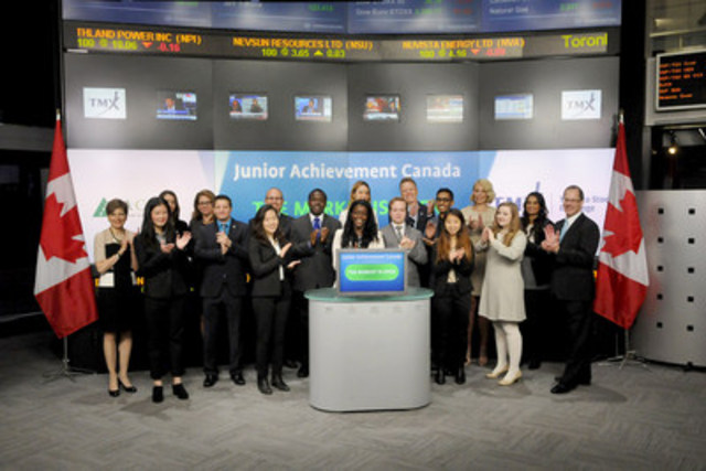 """Keith Publicover, President and CEO, JA Canada joined Suzanne Peters, Director, Business Communications & Strategic Programs, TMX Group to open the market to celebrate the 5th annual Financial Literacy Month. Under the leadership of  the Financial Literacy Leader and supported by the Financial Consumer Agency of Canada, organizations from the private, public and non-profit sectors collaborate to promote financial literacy for Canadians of all ages. """"Count me in, Canada"""", is this year's FLM theme, highlighting that financial literacy in Canada depends on the coordinated efforts of all sectors. JA Canada is a national youth business education organization which offers financial literacy, entrepreneurship and work readiness programs. For more information about FLM 2015 please visit http://www.fcac-acfc.gc.ca/Eng/financialLiteracy/initiativesProjects/FLM/Pages/home-accueil.aspx  and Junior Achievement Canada http://jacan.org/ (CNW Group/TMX Group Limited)"""