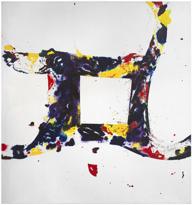 Sam Francis, A Whirling Square, 1975. Oil on canvas, 220 x 210 in. Heather James Fine Art