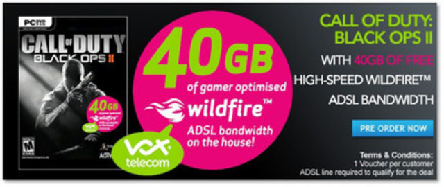 Sandvine customer, Vox Telecom offers subscribers who purchase a new video game in a retail store, 40GB of additional bandwidth prioritized for gaming. (CNW Group/Sandvine Incorporated)
