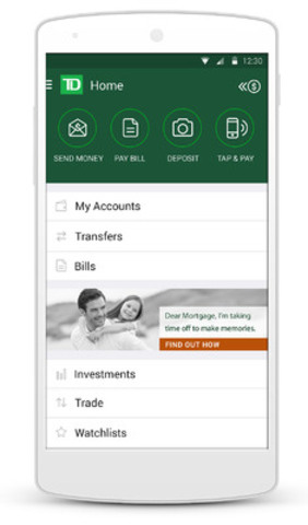 TD mobile app refresh puts a spotlight on speed and agility. (CNW Group/TD Bank Group)