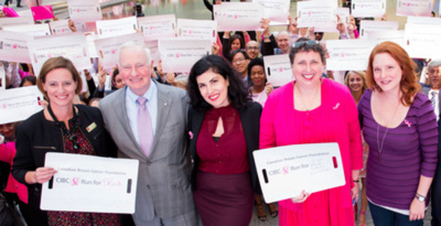 "Governor General David Johnston joins breast cancer survivors Ann Weiss, Helen Bilhete and Mary Wall and CIBC employee volunteers at the bank's annual Think Pink Event in Toronto ahead of the Canadian Breast Cancer Foundation CIBC Run for the Cure on October 4, 2015. Ann, Helen and Mary are all part of the cast and crew of survivors featured in CIBC's mini-documentary ""In this Together"" which demonstrates the connection between Run participants and survivors. From left: Monique Giroux, CIBC Vice-President, Governor General David Johnston, Helen Bilhete, the producer of ""In this Together,"" Ann Weiss and Mary Hall. (CNW Group/Canadian Breast Cancer Foundation)"