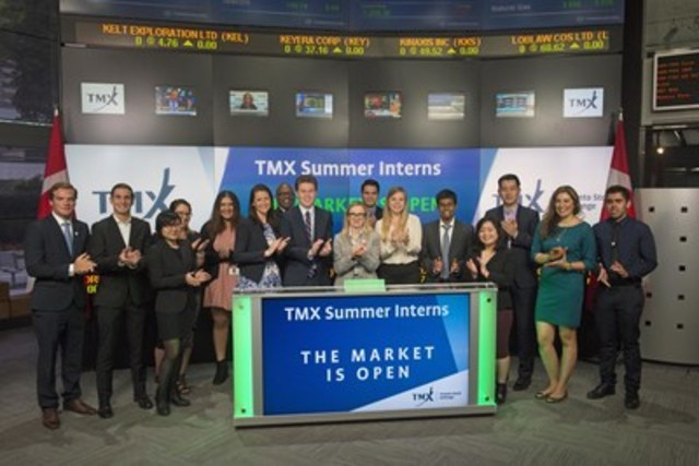 TMX Group summer interns joined Mary Lou Hukezalie, Senior Vice President, Group Head of Human Resources, TMX Group  open the market. Summer students work throughout the TMX Group organization with our professionals to gain experience, explore career options and gain valuable networking opportunities. The summer internship is a 16 week program for students who will be continuing their post-secondary education in the upcoming fall. (CNW Group/TMX Group Limited)