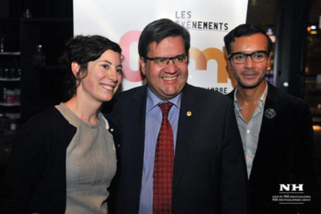 Mme Sandrine Archambault, directrice générale de la JCCM, M. Denis Coderre, maire de Montréal et M. Gabriel Bran Lopez, président de la JCCM. (Groupe CNW/Jeune Chambre de commerce de Montréal)