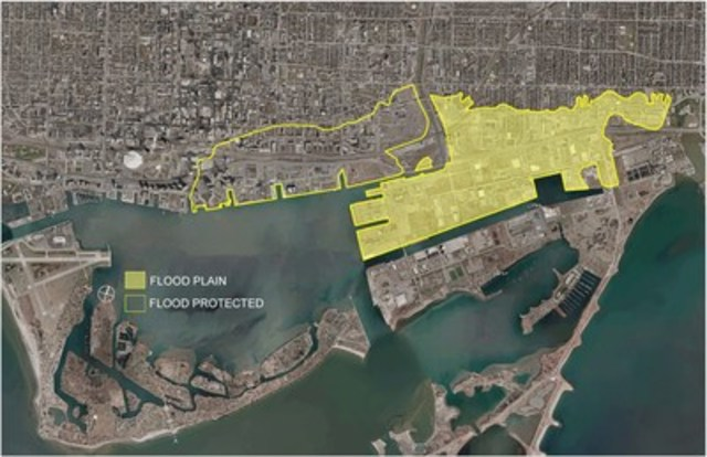 Map of existing and future flood protection areas, including the Port Lands and adjacent areas that are currently not flood protected (CNW Group/Waterfront Toronto)