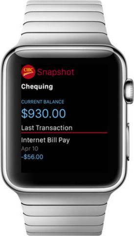 CIBC Mobile Banking app for Apple Watch (CNW Group/CIBC)