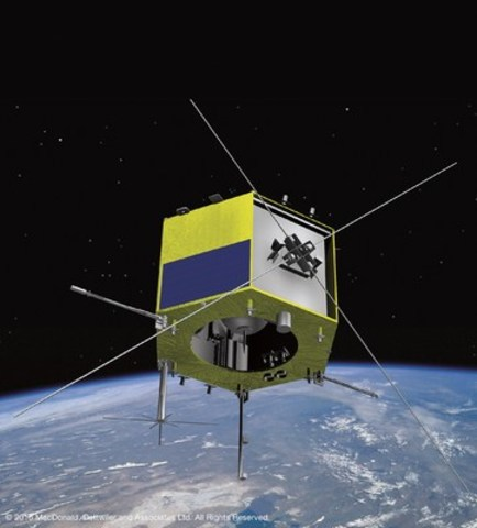 This image shows an artist's rendition of the CASSIOPE satellite built by MDA. (CNW Group/MacDonald, ...