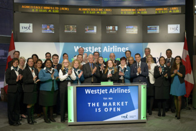 Gregg Saretsky, President and CEO, WestJet Airlines Ltd. (WJA), joined Ungad Chadda, President, Capital Formation, Equity Capital Markets, TMX Group to open the market to celebrate 17 years listed on Toronto Stock Exchange and 20 years as an organization. Founded in 1996 and headquartered in Calgary, Alberta, WestJet has grown from three aircrafts serving five cities to a fleet of 140 aircrafts serving over 100 destinations in North America, Central America, the Caribbean and Europe. WestJet Airlines Ltd. commenced trading on Toronto Stock Exchange on July 13, 1999. (CNW Group/TMX Group Limited)
