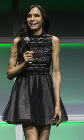 Famke Janssen, star The Blacklist: Redemption on Global, addresses the audience at the 2016 Corus Upfront on June 9, 2016 at the Mattamy Centre in Toronto. (CNW Group/Corus Entertainment Inc.)