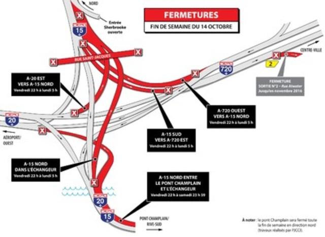 Entraves sur l'autoroute 15 - fin de semaine du 14 octobre (Groupe CNW/Ministère des Transports, de la Mobilité durable et de l'Électrification des transports)