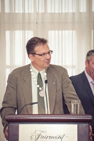 Rick Hackman shares an optimistic message for a bright future of pharmacy during his presidential address. (CNW Group/Alberta College of Pharmacists)