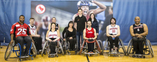 Chantal Petitclerc, Canada's Chef de Mission for the Rio 2016 Paralympic Games, met with and encouraged local Rio hopeful athletes Morgan Bird, Chad Jassman and Stefan Daniel in Calgary today, during the second stop on her Canadian tour, attending a wheelchair basketball demonstration and thanking the community. (CNW Group/Canadian Paralympic Committee (CPC))