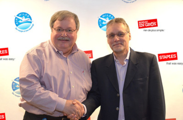 Staples Canada and AIR MILES are partnering in a national, multi-year agreement that will benefit consumers and small businesses. Pictured here, Steve Matyas, President of Staples Canada (L) and Andy Wright, President of the AIR MILES Reward Program. (CNW Group/AIR MILES Reward Program)