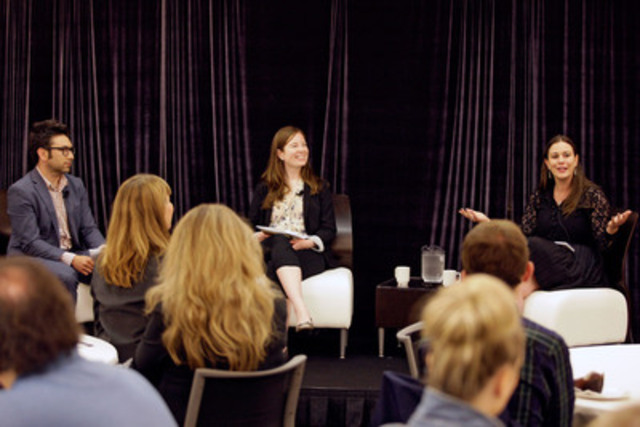 Bryan Borzykowski, Claire Neary and Sunny Freeman discuss the online business media landscape at CNW's Breakfast with the Media in Toronto, June 16, 2015. (Photo credit: Paul Terefenko) (CNW Group/CNW Group Ltd.)