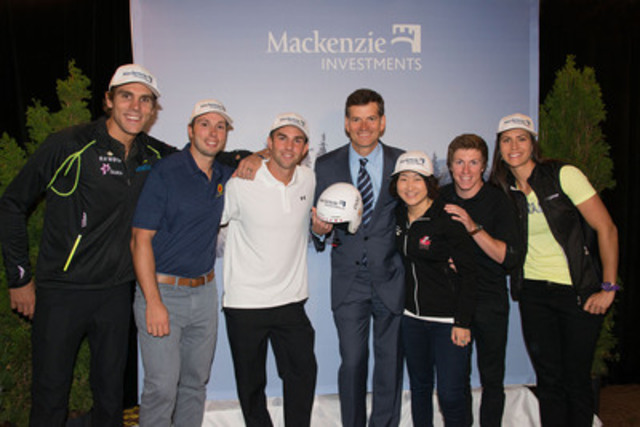 Mackenzie Investments President and Chief Executive Officer Jeff Carney celebrates the announcement of a multi-year sports sponsorship with Snow Sports Canada and Alpine Ontario. From left to right: Len Valjas, Cross Country Skiing; Dave Duncan, Alpine Ski Cross; Kevin Hill, Snowboard Cross; Jeff Carney, Mackenzie Investments; Atsuko Tanaka, Ski Jumping; Travis Gerritts, Freestyle Aerials; Rosanna Crawford, Biathlon. (CNW Group/Mackenzie Investments)