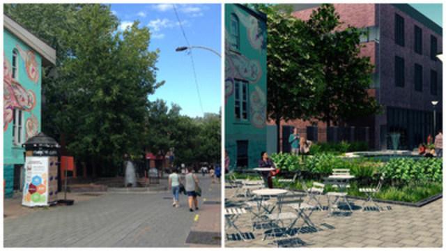 Fontaine de la rue Prince-Arthur maintenant et selon le plan de réaménagement. (Groupe CNW/Ville de Montréal - Arrondissement du Plateau-Mont-Royal)
