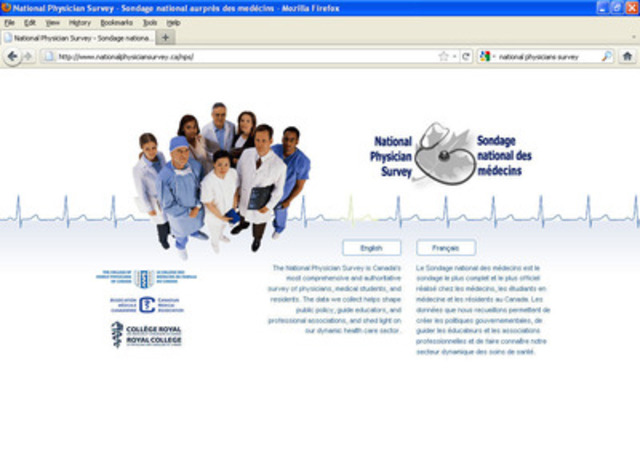 National Physicians Survey Website. (CNW Group/NATIONAL PHYSICIAN SURVEY)