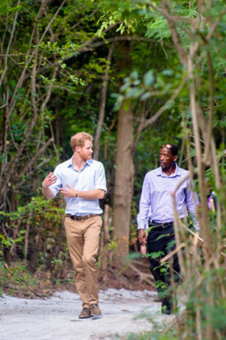 Prince Harry speaks with Lemuel Pemberton, President of the Nevis Turtle Group, after visiting the turtle nesting sites on Lover's Beach, Nevis as part of his official Royal visit through the Caribbean. His Royal Highness had holidayed in Nevis as a boy in 1993 with his mother, Princess Diana. (CNW Group/Portfolio Marketing Group)