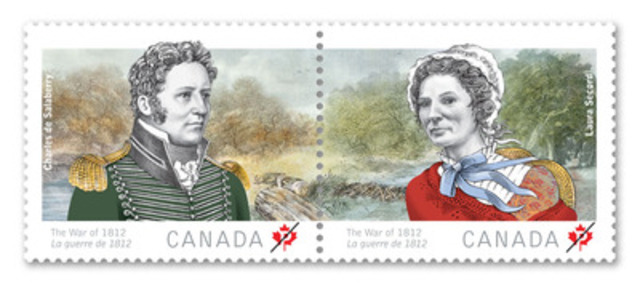 Today, Canada Post unveiled two stamps honouring the daring exploits of two Laura Secord and Charles de Salaberry, the second in a series commemorating the War of 1812. (CNW Group/Canada Post)