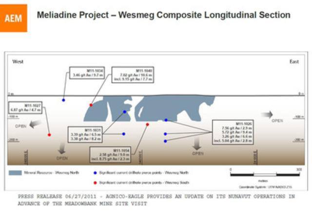 Wesmeg Composite Longitudinal Section (CNW Group/Agnico-Eagle Mines Limited)